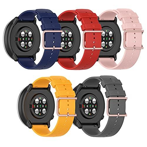BoLuo 20mm Correa Compatible con Polar Ignite Polar Unite,5 Pack Correas Reloj, Bandas Correa Repuesto,Reloj Recambio Brazalete Correa Repuesto para Huami Amazfit GTS 2 mini Amazfit GTR 42MM (color 1)