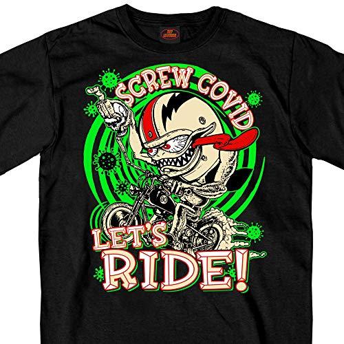 Hot Leathers GMS1474 Men's Screw Covid Lets Ride Coronavirus Motorcycle Black T-Shirt - XL-Large
