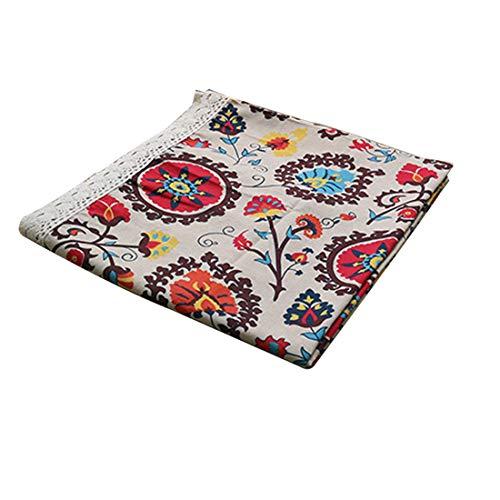 Nappe de table en lin/coton naturel avec motif tournesol, 140x250cm