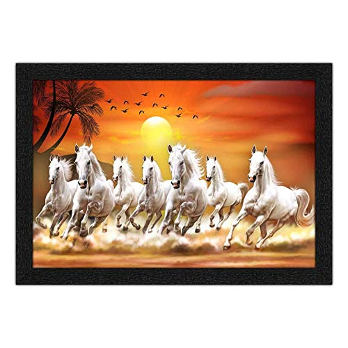 Angel Mommy Beautiful Decorative Seven Horses Running at Sunrise Painting with Synthetic Frame