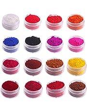 Lipgloss poeder 16 kleuren kleurrijk DIY lipglosspoeder grondstof 1g lippenstiftbasis handgemaakt natuurlijk pigmentpoeder voor het maken van lipglaze lipgloss make-up DIY crafts