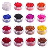 HOOGAO Materiale Natural Color 16 Colori colorato Fai da Te Lip Gloss Polvere di Materia Prima 1g Rossetto Base Mano pigmento Naturale in Polvere per Fare Lip Glaze Lip Gloss