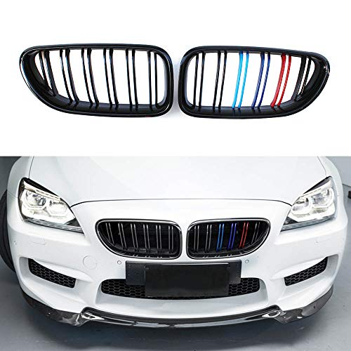 Front Kidney Grille Grill For BMW 6 Series F06 F12 F13 M6 2012 + (Dual Line, M Color)