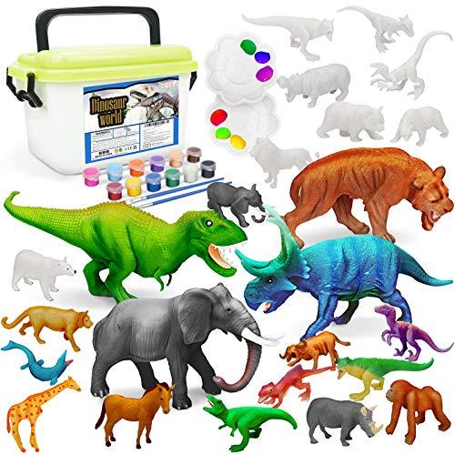 Vanplay Juguetes Dinosaurios y Juguetes de Animales Set de Pintura con Caja de Almacenamiento para Niños 33 Piezas