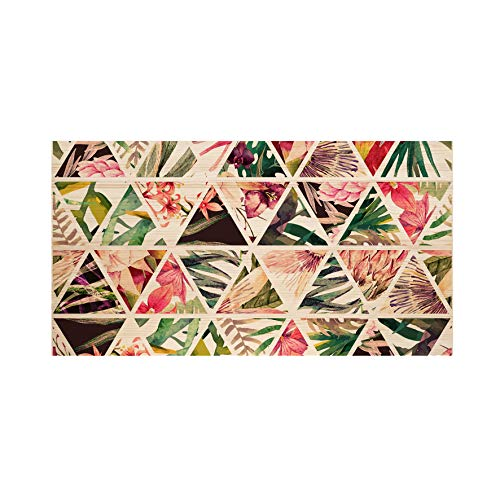 Decowood - Cabecero Estampado para Cama Dormitorio, Geométrico Tropical, Madera de Pino Natural - 160 x 80 cm