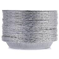 9 Inch Pie Pans (50 Pack) Disposable Aluminum Foil Pie Tins, Heavy-Duty Pie Plates, AMERICAN-MADE