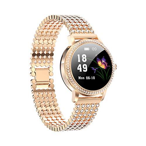 Aliwisdom Smartwatch für Damen, 1,08 Zoll Rund Fashion Smartwatch Fitness Uhr Wasserdicht Sport Armbanduhr Fitness Tracker Metallarmband für iOS Android, Mit Whatsapp SMS-Lesefunktion (Roségold)
