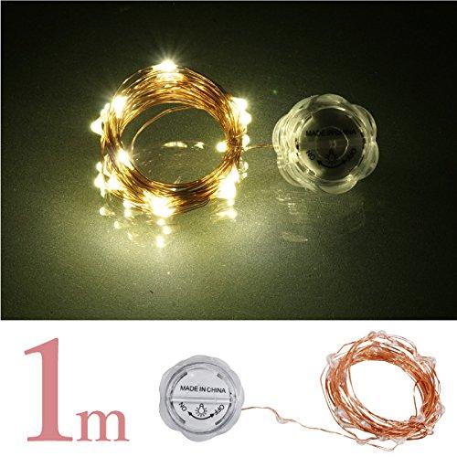 イルミネーション LED ワイヤー シャンパンゴールド 超小型 電池式 1m 10球 防水 銅配線 ジュエリーライト 金_76239