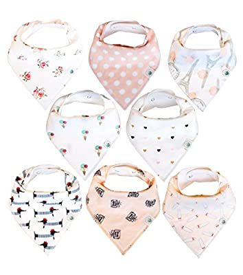 Baby Bandana Drool Bibs 8 Pack for Girls, Hypoallergenic Soft Organic Cotton with Snaps for Teething Drooling, Baby Shower Gift for Girl, Newborn Registry Must Haves, Burp Cloth, Pink Blush Rose from Lil Dandelion