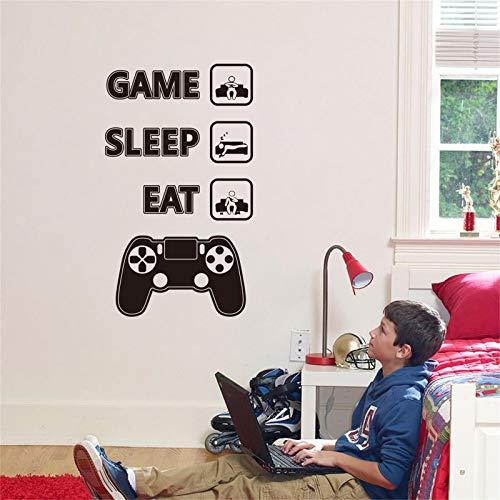 decalmile Pegatinas de Pared Frases Eat Sleep Game Vinilos Decorativos Controlador de Videojuegos Adhesivos Pared Habitación Niños Cuarto de Jugar