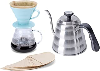 Pour Over Coffee Maker Set – Includes Coffee Carafe Pour Over Coffee Kettle with Thermometer (1.2L up to 40 oz.), V60 Paper Coffee Filter, Coffee Dripper and Glass Range Coffee Server