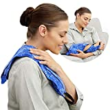 Hot Pockets All Purpose Microwavable Rice Heating Pad for Neck and Shoulders Pain Relief - 3 Pockets Hot and Cold Pack of Rice Bags for Heat Therapy with Washable Cover - American Brand (Blue Flowers)