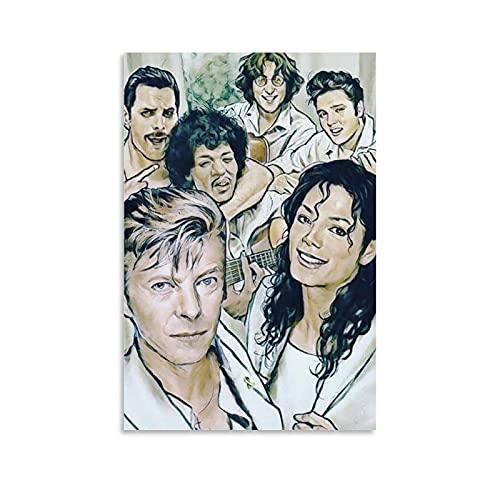 HZHI David Bowie und Michael Jackson Poster, Feines Leinwand-Kunst-Poster und Wandkunstdruck, modernes Familienstudium, Bürodekoration, Poster und Bar-Dekoration, 40 x 60 cm