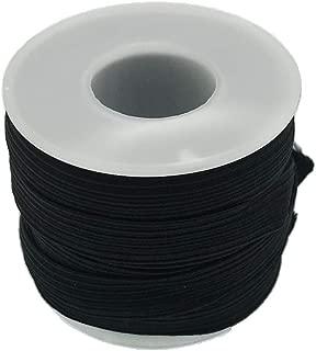 Braided Elastic Cord/Elastic Band/Elastic Rope/Bungee/White Heavy Stretch Knit Elastic Spool (Black, 15 Yard by 1/4-Inch)
