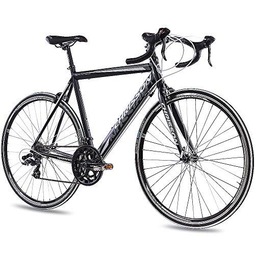 CHRISSON 28 Zoll Rennrad Road Bike - Furianer schwarz 53 cm mit 14 Gang Shimano Tourney Schaltung - Straßenrennrad für Damen und Herren