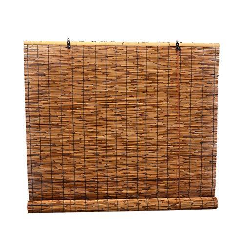 Persiana Enrollables Bambú 80cm / 100cm / 120cm / 130cm / 140cm de Ancho Cortina de Caña Retro, Persianas Enrollables de Bambú de Las Cortinas al Aire Libre, Vintage Carbonizado, Sombrilla / Aislamien
