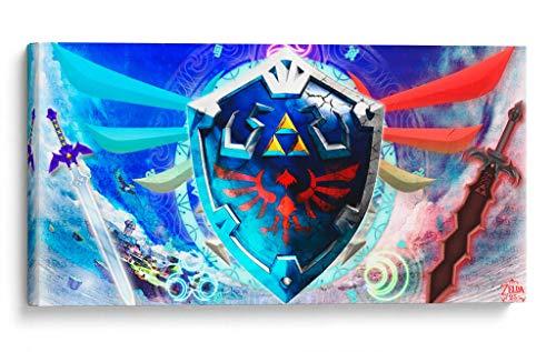 Cuadro decorativo de canvas (lienzo), Hylian Shield - Gamers The Legend of Zelda, montado en bastidor de madera de 4.5 cm de...