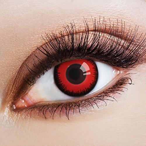 aricona Kontaktlinsen - deckend rote Kontaktlinsen - farbige Halloween Cosplay Kontaktlinsen ohne Stärke