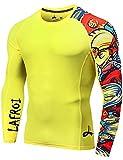 LAFROI Men's Long Sleeve UPF 50+ Baselayer Skins Performance Fit Compression Rash Guard-CLYYB Asym Pops Size LG