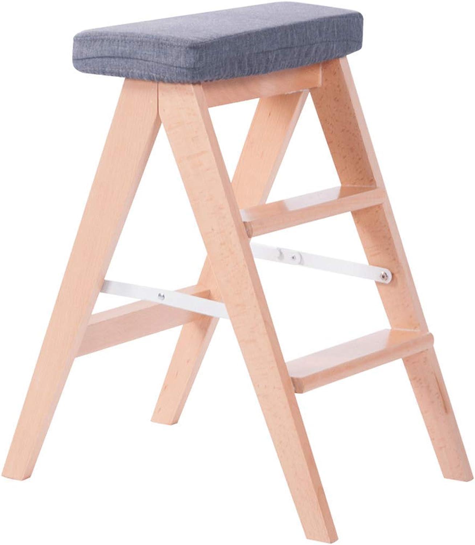 HONGSHENG Multi-Function Folding Ladder Household Herringbone Solid Sood Ladder Portable Stool, Detachable,4