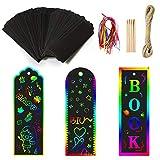aovowog 45 Set Kratzbild Lesezeichen Regenbogenfarben Papier DIY Geschenkanhänger für Kinder Studenten Party Bastelbedarf