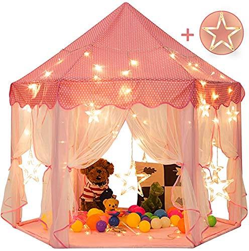 Princess Castle Speeltent Meisjes Speelhuis Luifel Fairy Tipi voor kinderen Zeshoekig speelhuisje met grote sterrenverlichting Speelgoed Peuters Binnen Buitenspellen