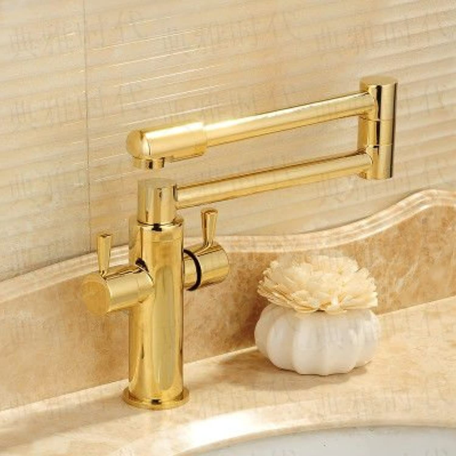 Hlluya Professional Sink Mixer Tap Kitchen Faucet redate the telescopic folding black antique gold-copper hot and cold faucets kitchen sink faucets, B