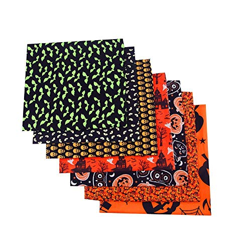lossomly Stoff Patchwork Baumwollstoff Meterware Stoffreste Bastelbündel Quadrate Halloween Muster Quilten Bastelstoff Für DIY Kleidung, Bettwäsche, Vorhänge, Tischdecken, Handgefertigt (8 Stück)
