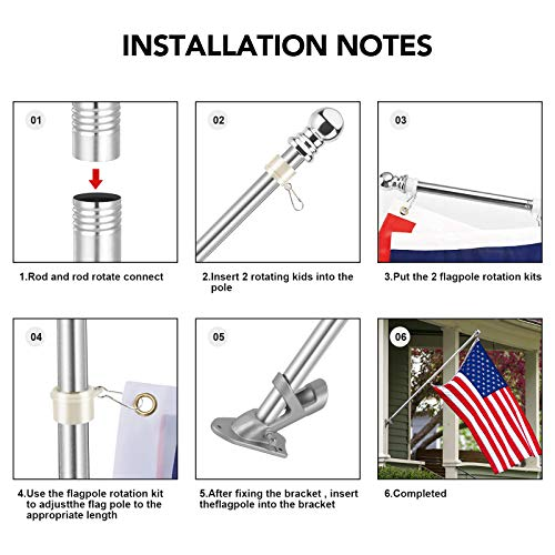 ASORT Flag Pole Kit, Flag Pole for House with Holder, 6ft Stainless Steel Flagpole Kits Wall Mounted Tangle Free American Flagpole for Residential Porch Garden Yard Truck Boat Commercial