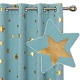 Deconovo Cortinas Opacas con Aislamiento Térmico para Ventana de Estar Diseño Estrellas Estampados Dorados con Ojales 2 Paneles 117 x 138 cm Azul Cielo