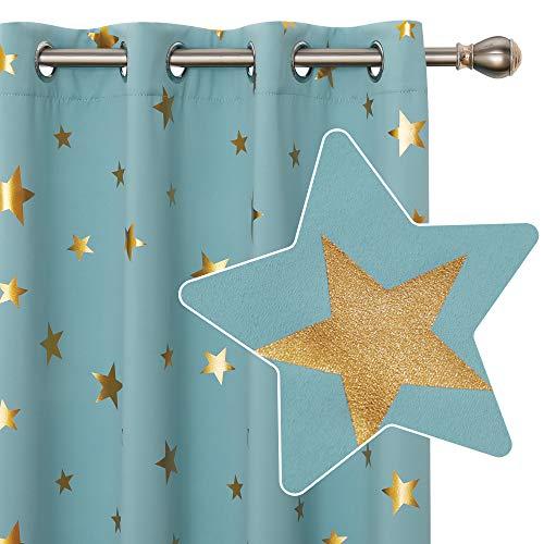 Deconovo Cortina Opacas de Salon Dormitorio Moderno con Aislamiento Térmico Diseño Estrellas Estampados Dorados con Ojales 2 Paneles 140 x 245 cm Azul Cielo