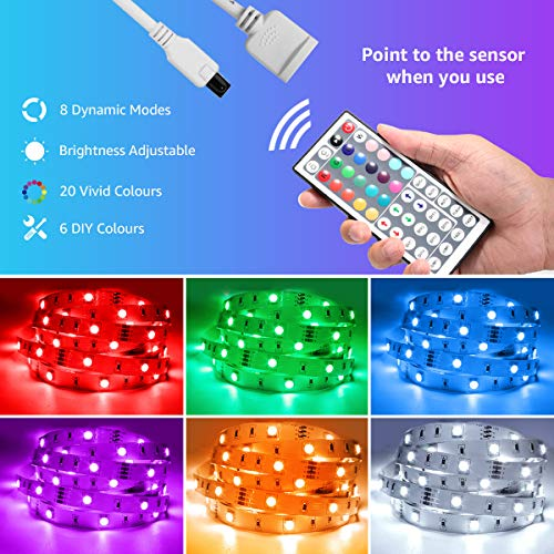 LED Strip Lights 32.8ft, RGB LED Light Strip, 5050 SMD LED Color Changing Tape Light with 44 Key Remote and 12V Power Supply, LED Lights for Bedroom, Home Decoration, TV Backlight, Kitchen, Bar 2