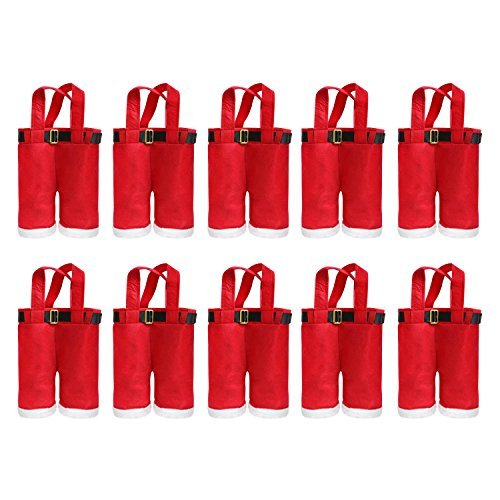 Robelli 10 x Weihnachtsmann Hose Weihnachten Weinflaschen Halter Tragetasche