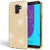 NALIA Custodia compatibile con Samsung Galaxy J6, Clear Glitter Copertura in Silicone...