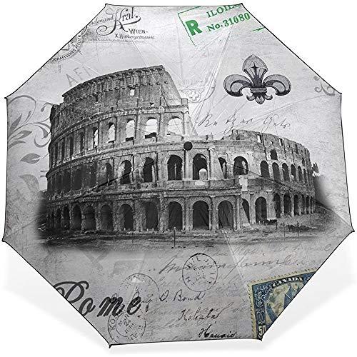 Edificios Romanos A Prueba de Viento Impermeable Paraguas Compacto Bloqueador Solar Paraguas Plegable Sombrilla Solar