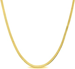 Sterling Silver 2.5MM, 3.3MM Italian Herringbone Flat Snake Magic Chain -Gold Plated Herringbone Chain Necklace, Gold Over Silver Necklace for Men and Women