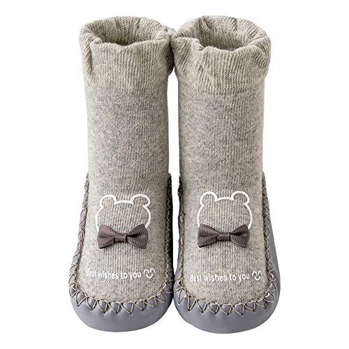 Juzzae Süße Unisex Baby Socken Schuhe Baby Mädchen Baby Jungen rutschfeste Hausschuhe Socken Lauflernschuhe Prewalker Baumwolle Boden Socken Baby Mokassins mit Grip für Kleinkinder 12-18 Monate