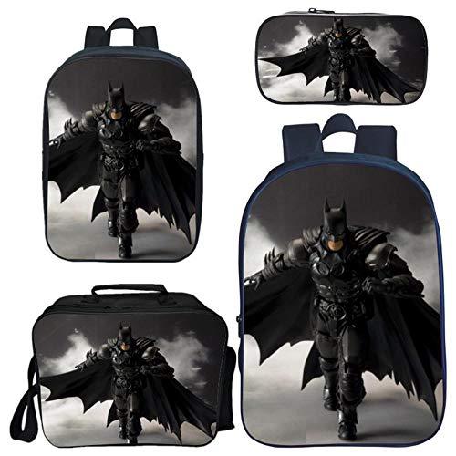 Rucksäcke Kinder, 3D-Burden Mindernde Batman Superman 4-teiliges Set, Kinder Schulranzen + Lunch Bag + Federmäppchen 4