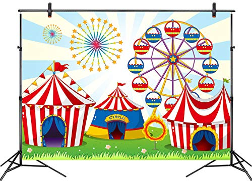 LB 7x5ft Carnival Circus Backdrop for Birthday Party Kids Boy Girl Baby Shower Photography Background Amusement Park Ferris Wheel Tent Backdrop Photo Booth Studio Props