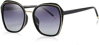 SGJFZD Womens Vintage Retro Fashion TAC PC Sunscreen UV400 Polarized Light Sunglasses New Design (Color : Bright Black+Double Gray)