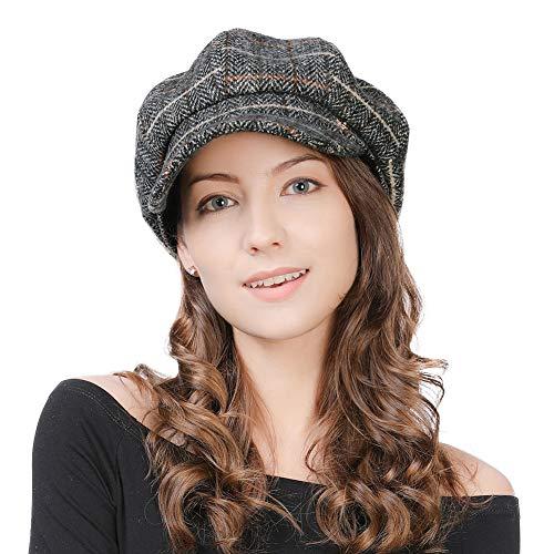 FancetHat Damen Wollmischung Ballonmütze Wintermütze Kappe 55-58cm Grau