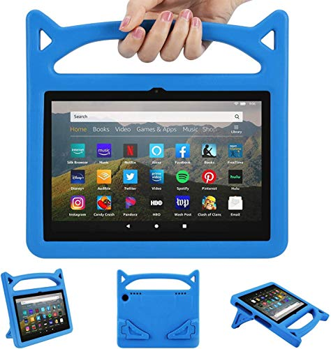 2020 F i r e H D 8 Kids Case Kids Light Weight Shock Proof Handle and foldable stand Case for A m a z o n F i r e H D 8/8 plus Tablet (8' Display -2020 Release) (Blue, 2020 10th)