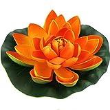 JAROWN - Flores de loto artificiales de espuma EVA flotante para acuarios de peces y estanques (18 cm), color naranja