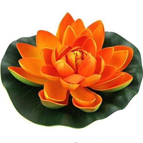 JAROWN Lot de 4 fleurs de lotus artificielles flottantes en mousse pour aquarium ou bassin, Plastique, Orange, 18 cm