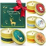 LA BELLEFÉE Duftkerzen Geschenkset, 100% Sojawachs Aromatherapie Tragbare Zinnkerzen Weihnachten Geschenkbox mit 4 Düften, Sherry Brandy, Apfel Zimt, Winter Zedernholz, Lebkuchen, 4er Set