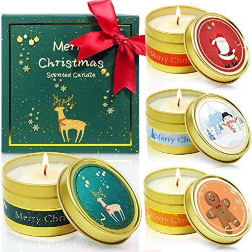 LA BELLEFÉE Velas aromáticas Vegan Set de Regalo de Cera de Soja Navidad, Decoraciones de Halloween, Fiestas, Regalos