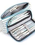 swq Caja de lápices portátiles de Gran Capacidad, diseño de la Ventana es Conveniente y Gratuito para Usar, el diseño portátil es Conveniente para Llevar (Color : Stripe)