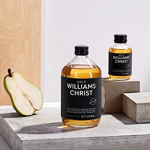 Williams Christ Gold in 500ml mit 36% Alkohol von STILVOL. Spirituosen. Schnaps mit eingelegter Birne aus deutscher Klein-Brennerei, ohne Aromen.