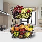 Fruit Bowls 2 Tier Metal Fruit Basket For Kitchen Counter Fruit Holder Storage Stand Round Black