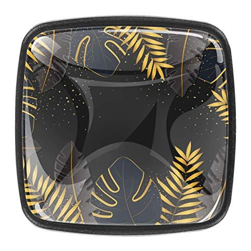 4 pomos de cajón de cristal con tornillos para el hogar, la oficina, el armario, el armario, el patrón de hojas oscuras, para la mesa de trabajo 2